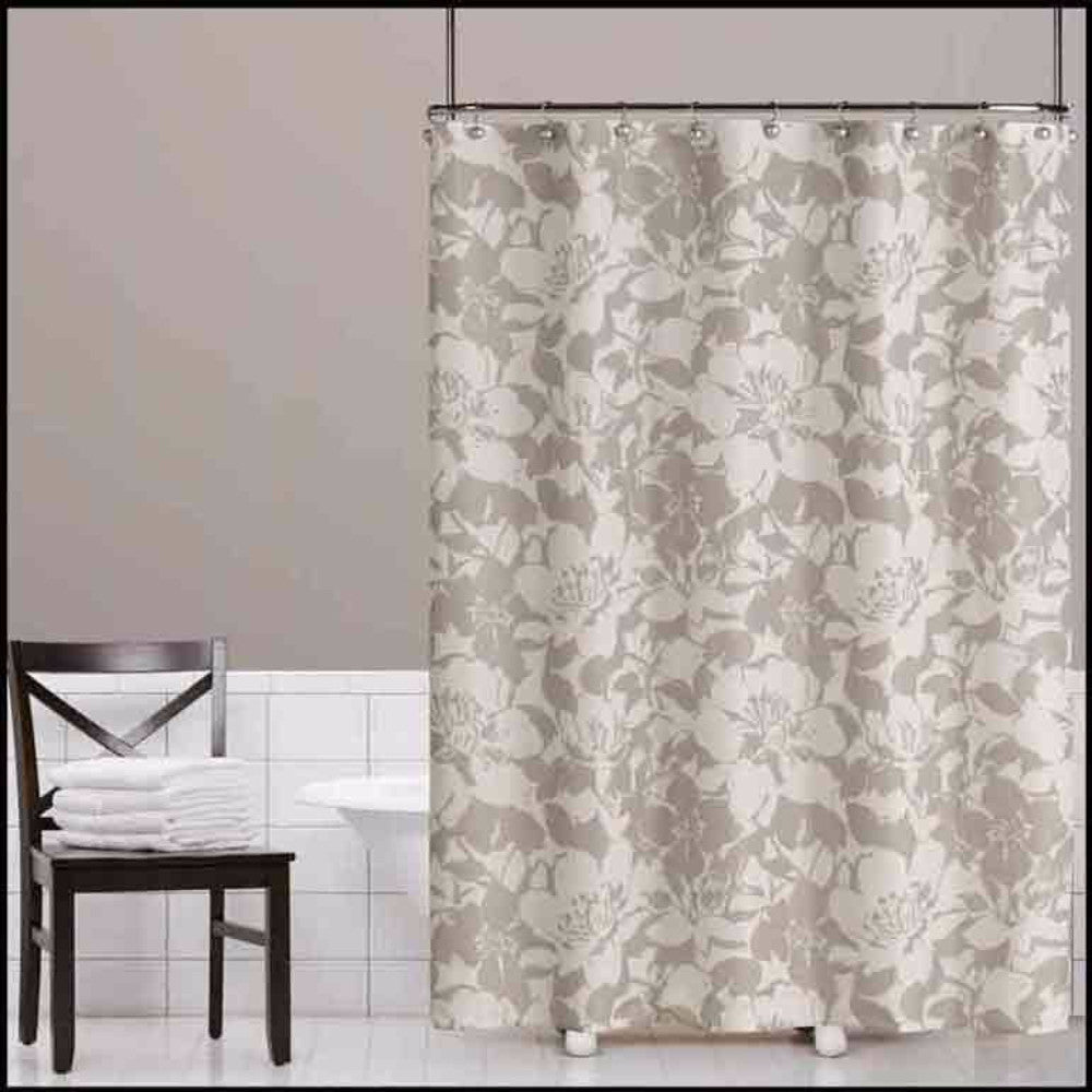 Grey Peony Fabric Shower Curtain Hanging On A Rod
