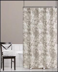 Grey Peony Fabric Shower Curtain hanging on a shower curtain rod