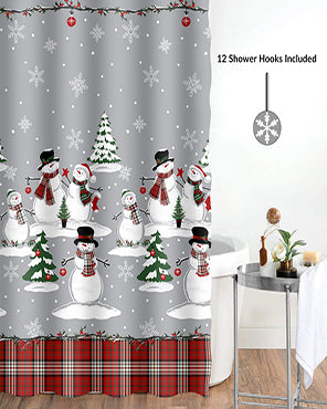 Snowman Plaid 13 Piece Shower Curtain & Hook Set