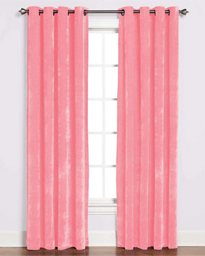Pink Plush Grommet Top Panel hanging on a decorative curtain rod