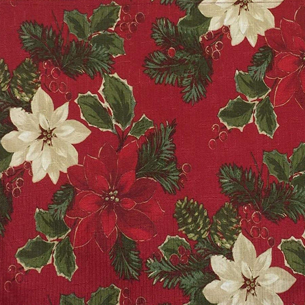 Closeup of Poinsettia Pine Tablecloth by Bardwi