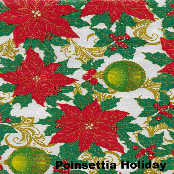 Close up shot of Lintex Linens Festive Holiday Non-Toxic Vinyl Table Cloth Collection Poinsettia Holiday