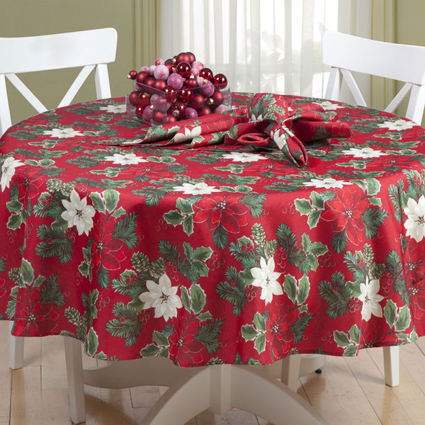 Red Poinsettia Pine Fabric Tablecloth on a Round Table