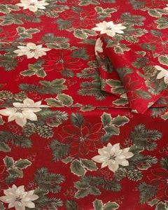 Poinsettia Pine Fabric Tablecloth