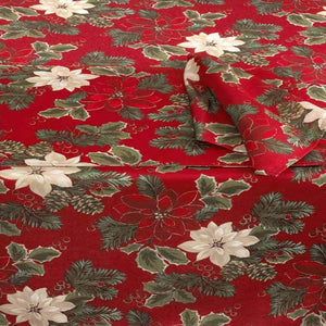 Poinsettia Pine Tablecloth by Bardwi