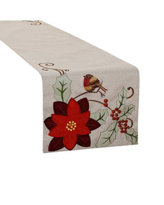Poinsettia Seasonal Christmas Table Runner