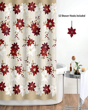 Poinsettia 13 Piece Shower Curtain & Hook Set