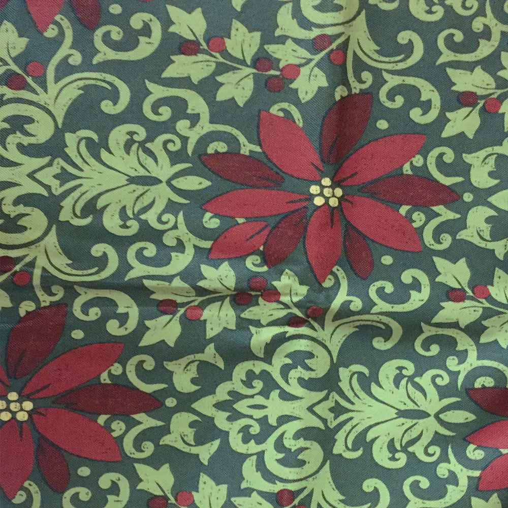 Close up of Green Poinsettia Damask Peva Table Cloth Fabric