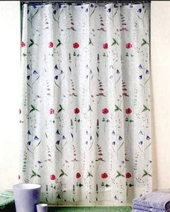 Poppies Eva Vinyl Shower Curtain hanging on a shower rod