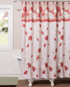 Multi Poppy Field Fabric Shower Curtain hanging on a shower curtain rod