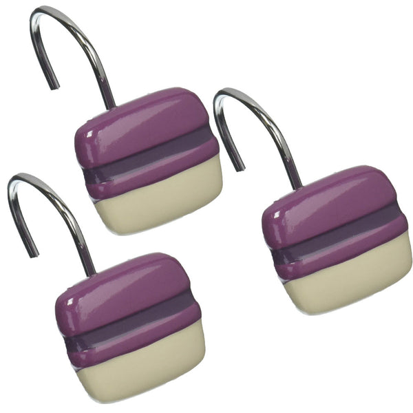 Close up shot of Purple Chantelle Fabric Shower Curtain shower hooks