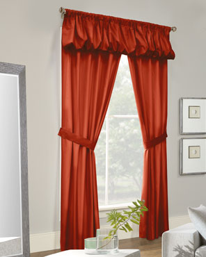 Thermalogic Prescott 5 Piece Solid Curtain Panel hanging on a decorative rod