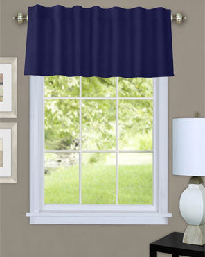 Navy Thermalogic Prescott Insulated Dual Header Valance hanging on a decorative rod