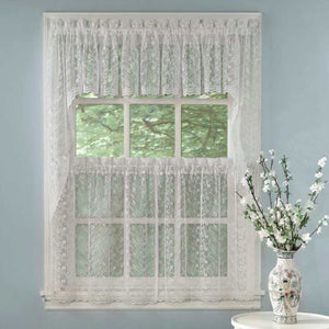 White Priscilla Bridal Lace Kitchen Valance, Swags, Tier Curtains hanging on a curtain rod