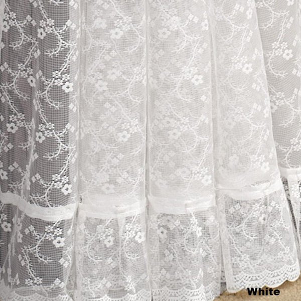 Priscilla Ruffled Bridal Lace Curtain Panel Pair With Scrolling Flower- Pattern-White