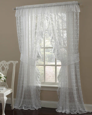 Priscilla Ruffled Bridal Lace Curtain Panel Pair With Scrolling Flower Pattern