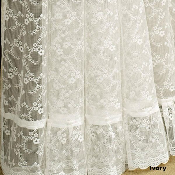 Priscilla Ruffled Bridal Lace Curtain Panel Pair With Scrolling Flower Pattern-Ivory