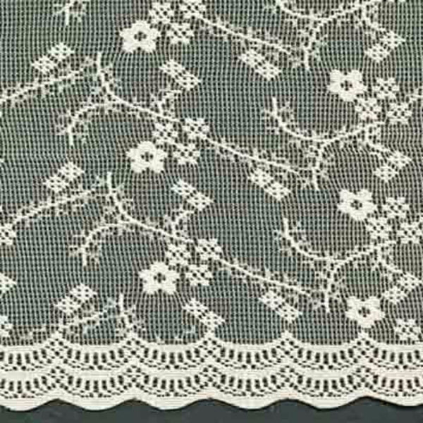 Closeup of Ivory Priscilla Bridal Lace Kitchen Valance, Swags, Tier Curtains fabric