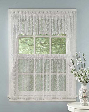 White Priscilla Bridal Lace Kitchen Valance Swags Tier Curtains Hanging On A Curtain Rod