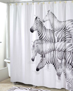 Multi Pundamilia Fabric Shower Curtain hanging on a shower curtain rod
