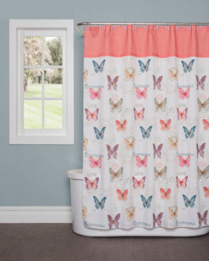 White Rainbow Butterfly Fabric Shower Curtain hanging on a shower curtain rod