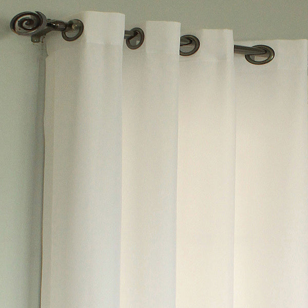 Closeup of Ivory Rhapsody Thermalvoile Lined Grommet Top Sheer Curtains
