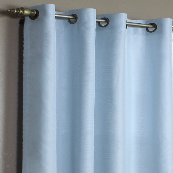 Closeup of Aqua Rhapsody Thermalvoile Lined Grommet Top Sheer Curtains