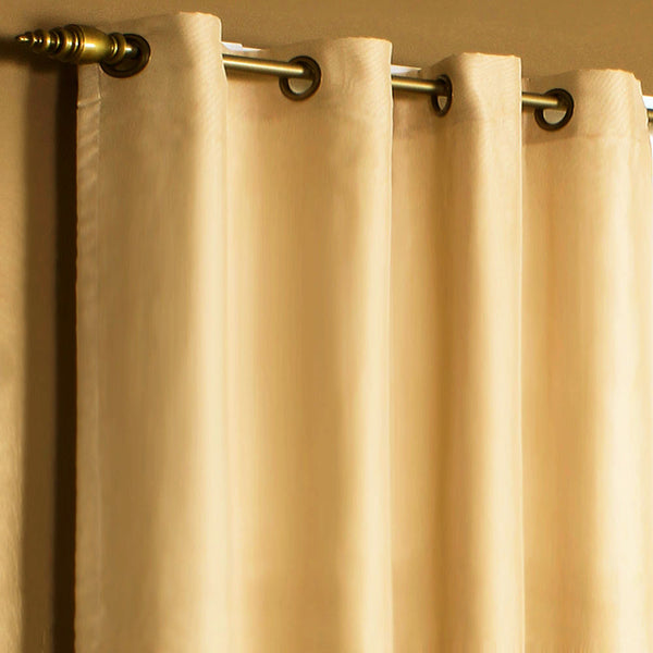 Closeup of Mushroom Rhapsody Thermalvoile Lined Grommet Top Sheer Curtains