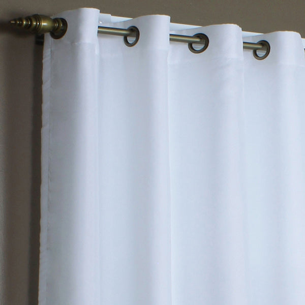 Closeup of White Rhapsody Thermalvoile Lined Grommet Top Sheer Curtains