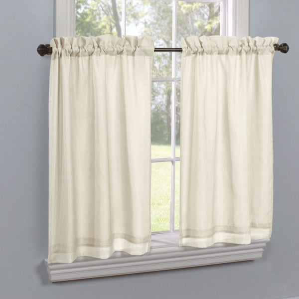 Ivory Rhapsody Lined Thermavoile Tailored Kitchen Tier Curtains hanging on decorative rods