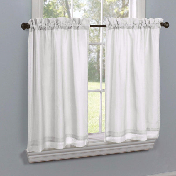 White Rhapsody Lined Thermavoile Tailored Kitchen Tier Curtains hanging on decorative rods