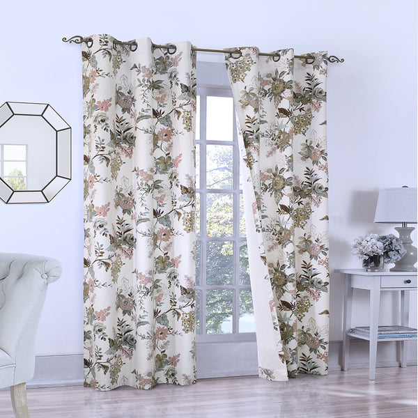 Thermalogic Romantic Floral Grommet Panel Pair