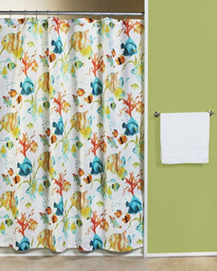 Multi Rainbow Fish Fabric Shower Curtain hanging on a shower curtain rod