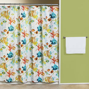 Multi Rainbow Fish Fabric Shower Curtain Hanging On A Rod