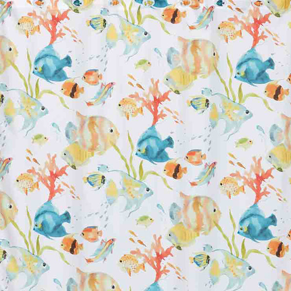 Close up shot of Multi Rainbow Fish Fabric Shower Curtain fabric