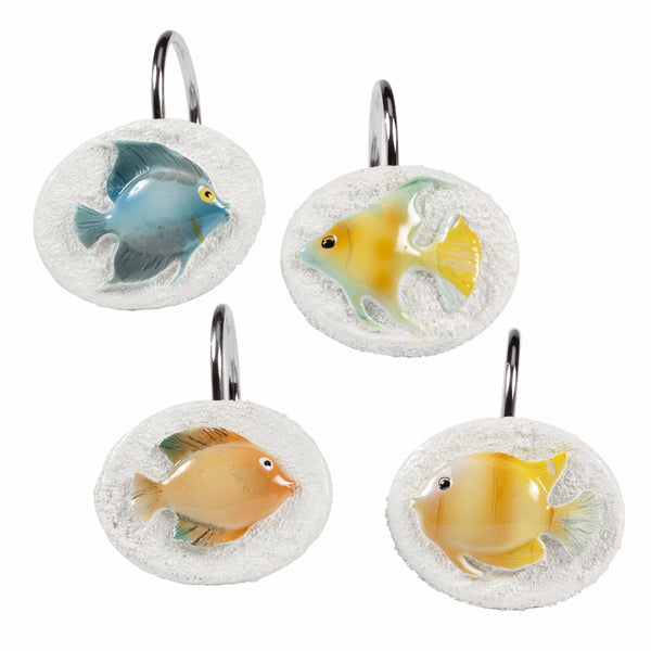 Multi Rainbow Fish Fabric Shower Curtain shower curtain hooks