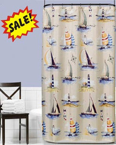 Multi Regatta Fabric Shower Curtain hanging on a shower curtain rod