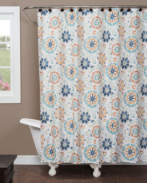 Multi Renee Fabric Shower Curtain hanging on a shower curtain rod