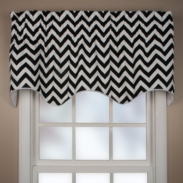 Reston Lined Scalloped Valance hanging on a curtain rod