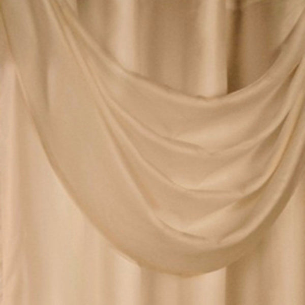 Closeup of Mushroom Thermavoile Rhapsody Grommet Ascot Valance hanging fabric