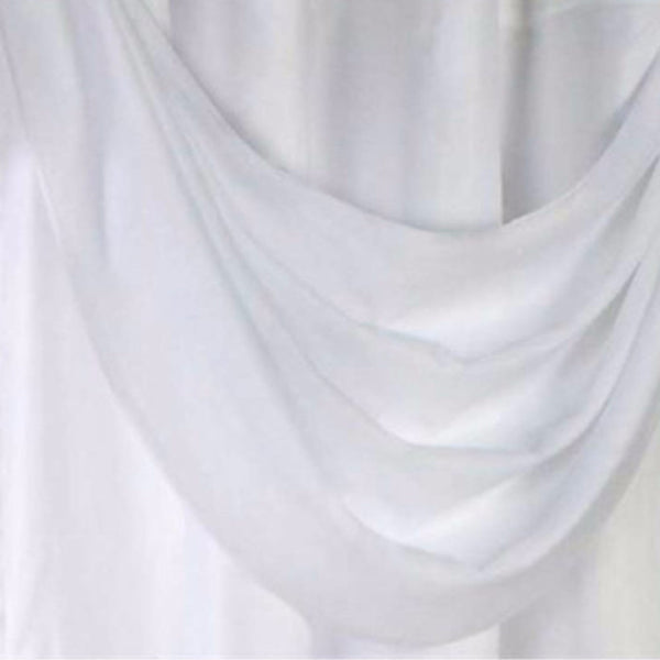 Closeup of White Thermavoile Rhapsody Grommet Ascot Valance hanging fabric