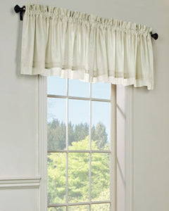 Rhapsody Lined Tailored Valance hanging on a curtain rod
