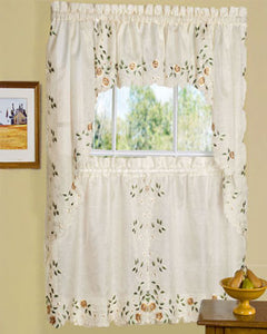 Linen Rosemary Kitchen Valance, Swags, and Tier Curtains hanging on a curtain rod