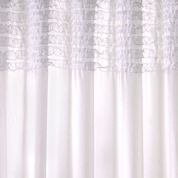Close up shot of White Ruffles Sheer Shower Curtain fabric