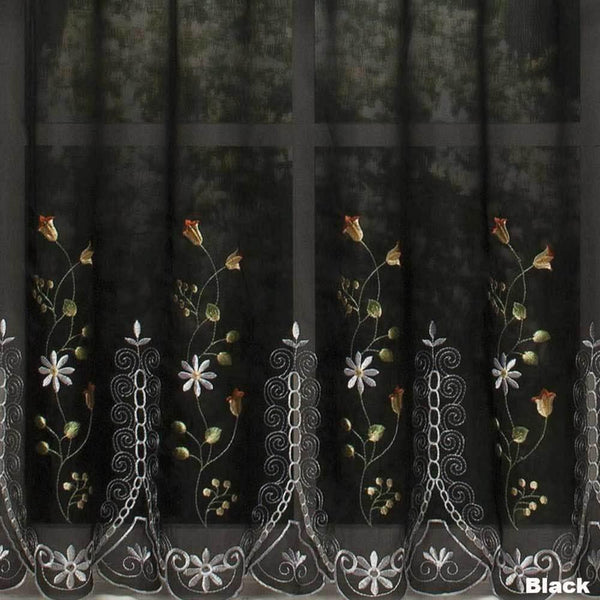 Closeup of Black Samantha Embroidered Sheer Tier Curtains fabric