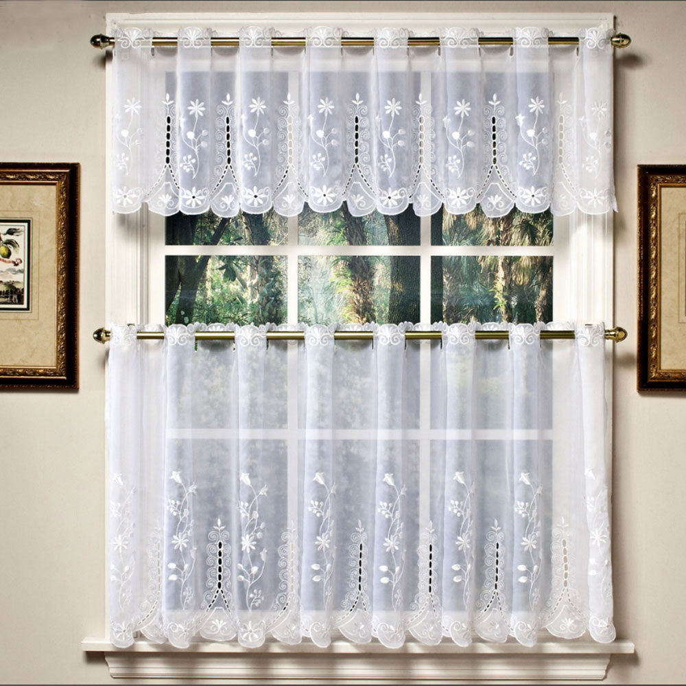 White Samantha Embroidered Sheer Kitchen Valance and Tier Curtains hanging on a curtain rod
