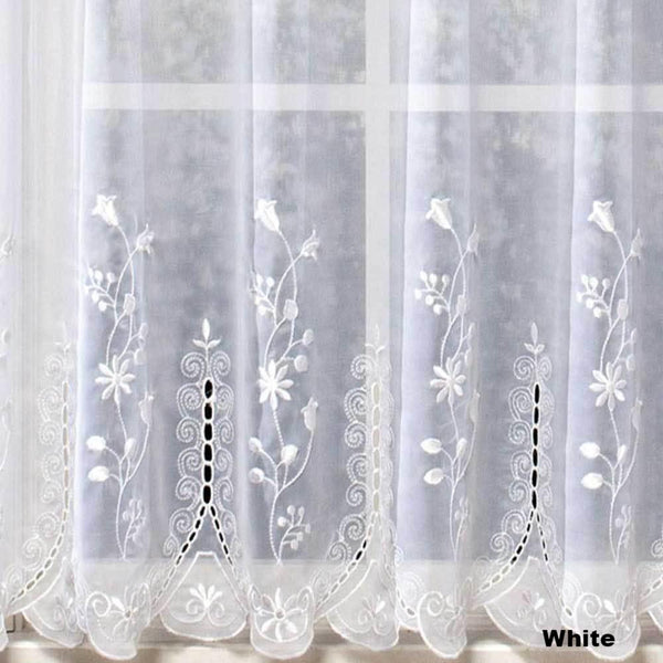 Closeup of White Samantha Embroidered Sheer Tier Curtains fabric