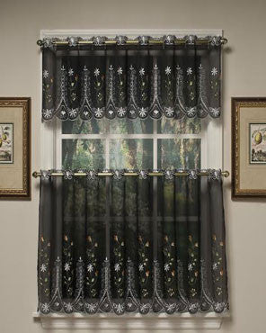 Black Samantha Embroidered Sheer Kitchen Valance and Tier Curtains hanging on a curtain rod