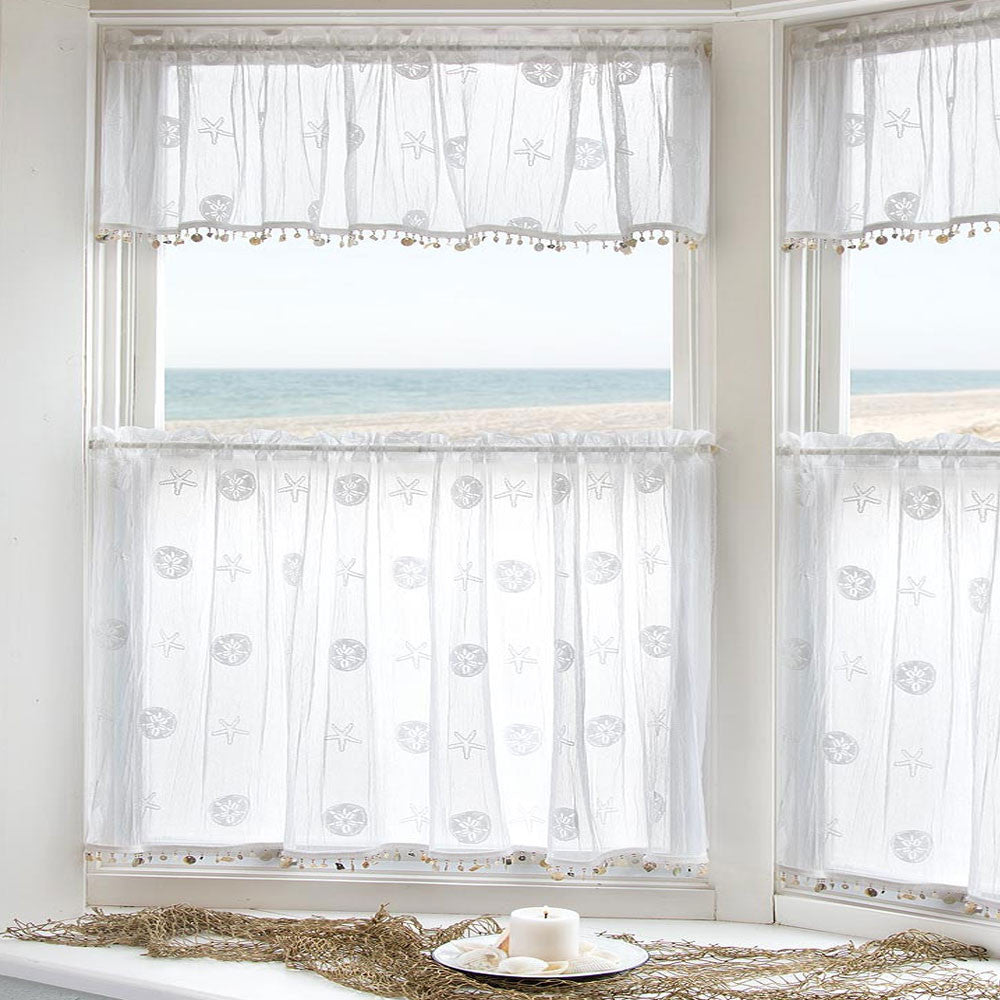 Sand Shell Tier And Valance With Seashell Trim/ Heritage