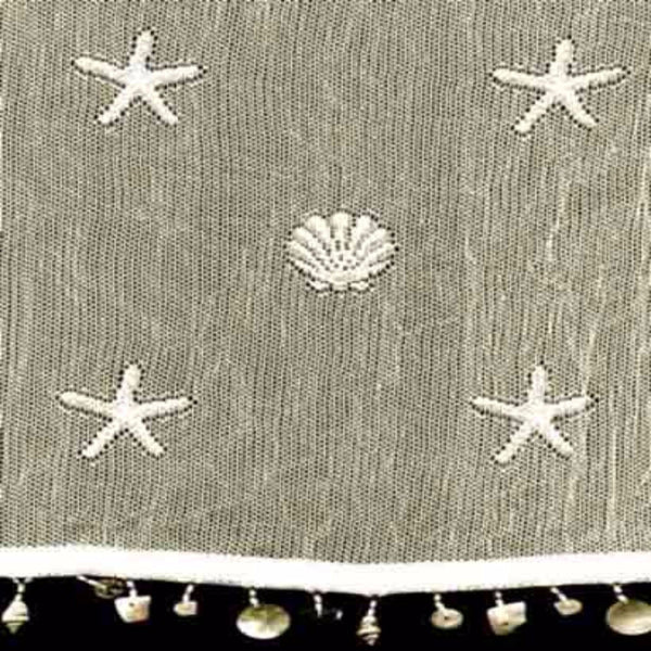 Closeup of Ecru Sand Shell Tier and Valance with Seashell Trim and fabric